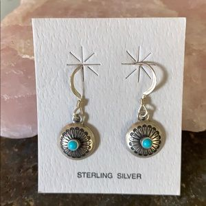Sterling little silver and turquoise earrings